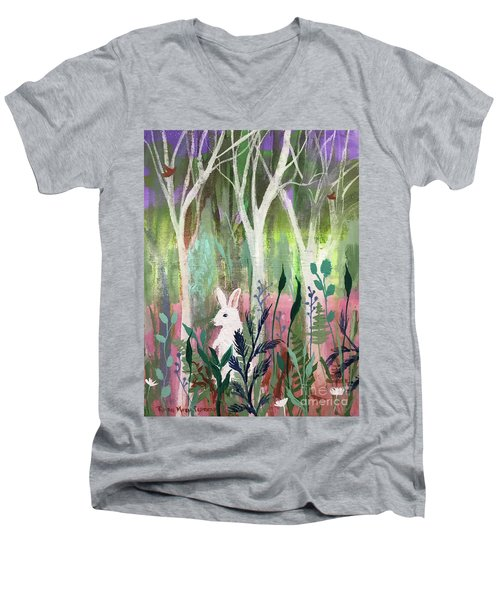 Men's V-Neck T-Shirt featuring the painting The White Rabbit by Robin Maria Pedrero