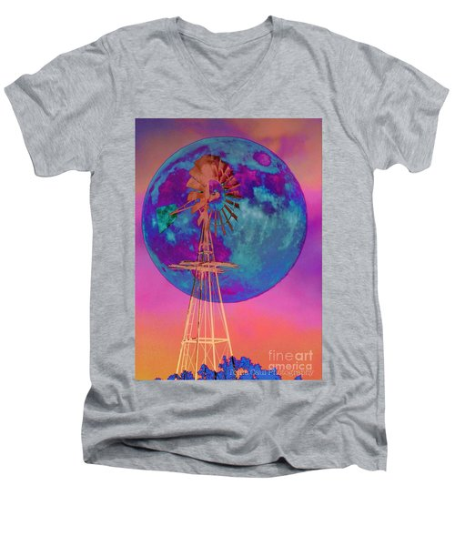 The Windmill And Moon In A Sherbet Sky Men's V-Neck T-Shirt by Toma Caul