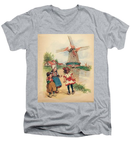 The Windmill And The Little Wooden Shoes Men's V-Neck T-Shirt by Reynold Jay