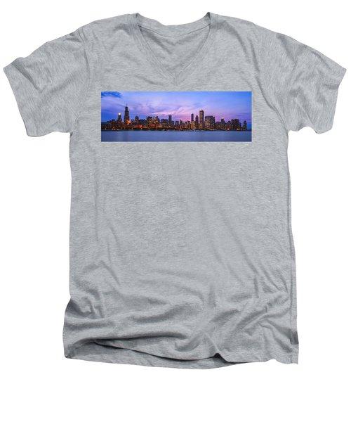 The Windy City Men's V-Neck T-Shirt by Scott Norris