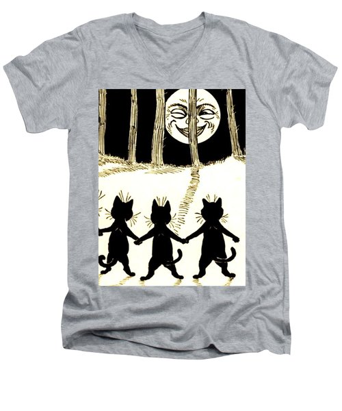 The Wink Six Black Pussy Cats Men's V-Neck T-Shirt