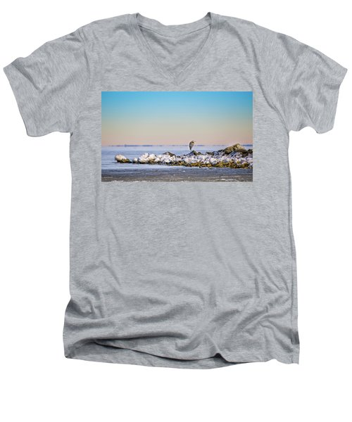 The Winter Heron Men's V-Neck T-Shirt