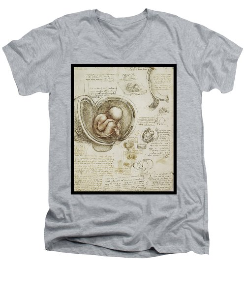 Men's V-Neck T-Shirt featuring the painting The Womb And Embreyo  by James Christopher Hill