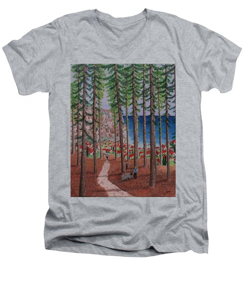 The Wood Collectors Men's V-Neck T-Shirt by Hilda and Jose Garrancho