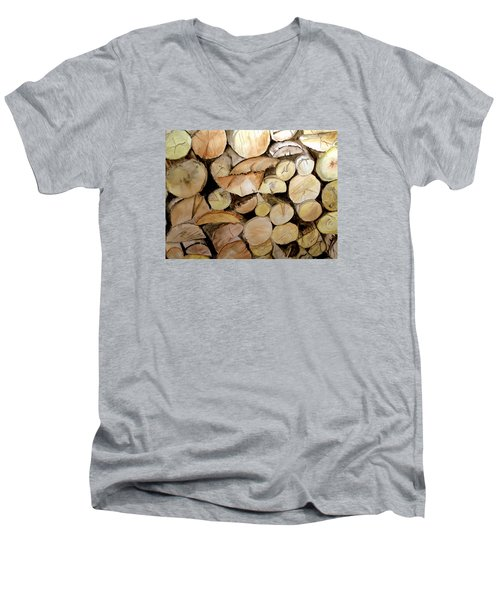 The Woodpile Men's V-Neck T-Shirt by Carol Grimes