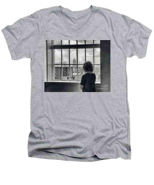 The World Outside My Window Men's V-Neck T-Shirt by Laurinda Bowling