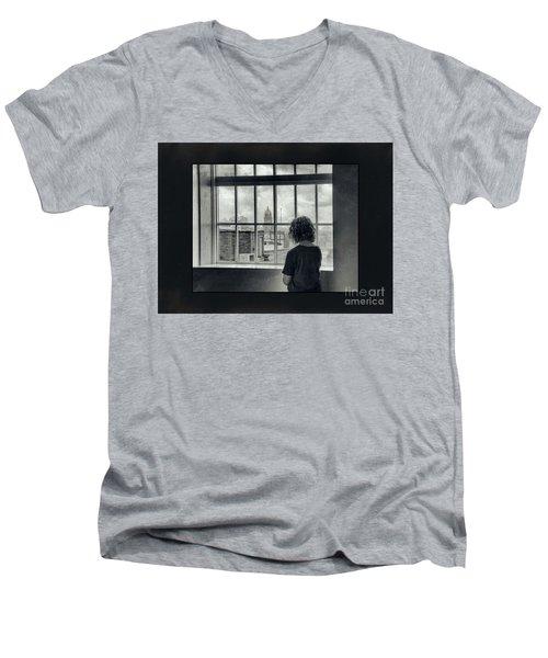 The World Outside My Window Number II  Men's V-Neck T-Shirt by Laurinda Bowling