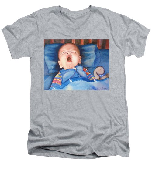 Men's V-Neck T-Shirt featuring the painting The Yawn by Marilyn Jacobson