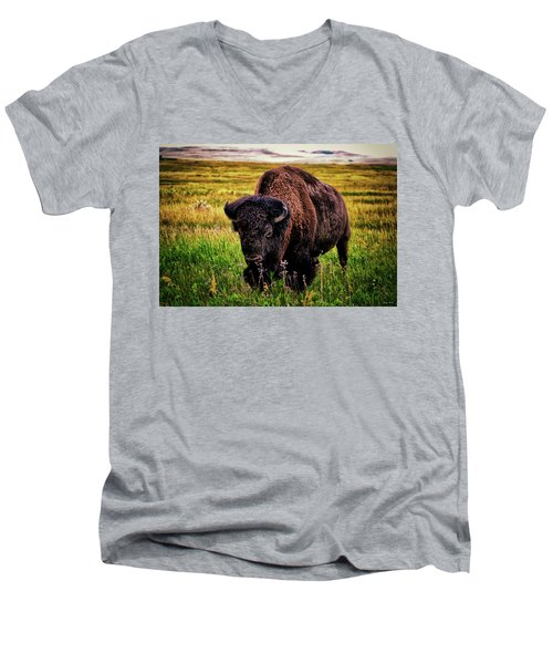 Men's V-Neck T-Shirt featuring the photograph Theodore Roosevelt National Park 009 - Buffalo by George Bostian