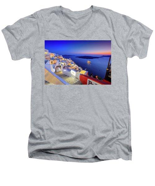 Thera Sunset  Men's V-Neck T-Shirt