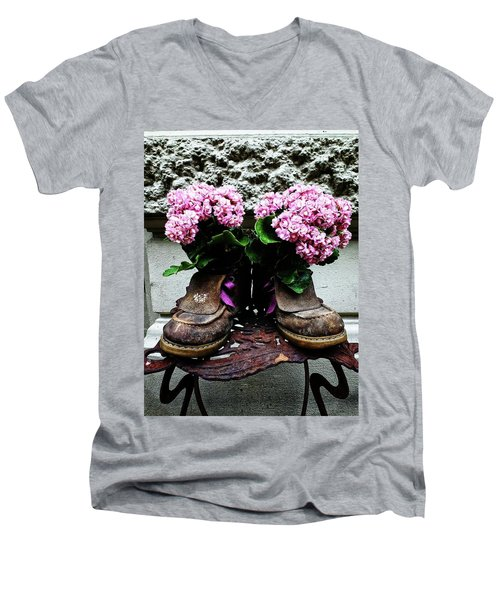 These Boots Are Made For Flowers Men's V-Neck T-Shirt