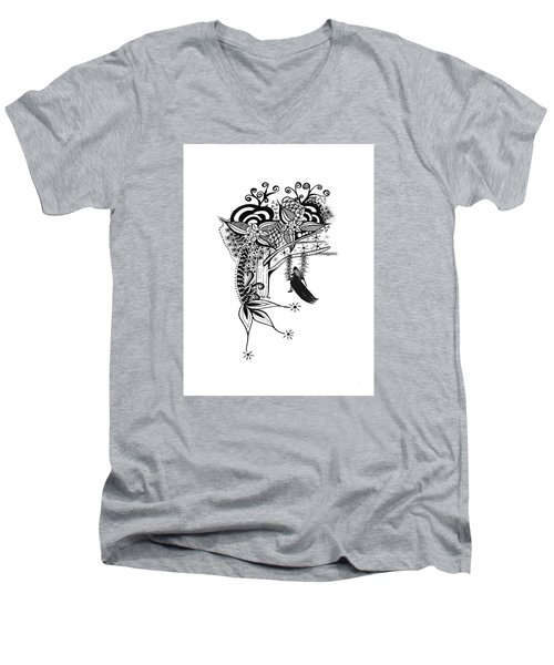 The Swing Pen And Ink Drawing Illustration Men's V-Neck T-Shirt by Saribelle Rodriguez