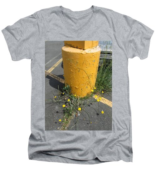 Men's V-Neck T-Shirt featuring the photograph They Are Still        Here by Marie Neder