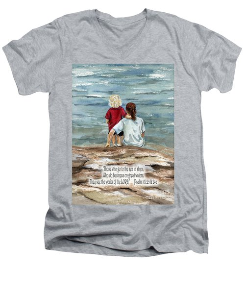They See The Works Of The Lord  Men's V-Neck T-Shirt