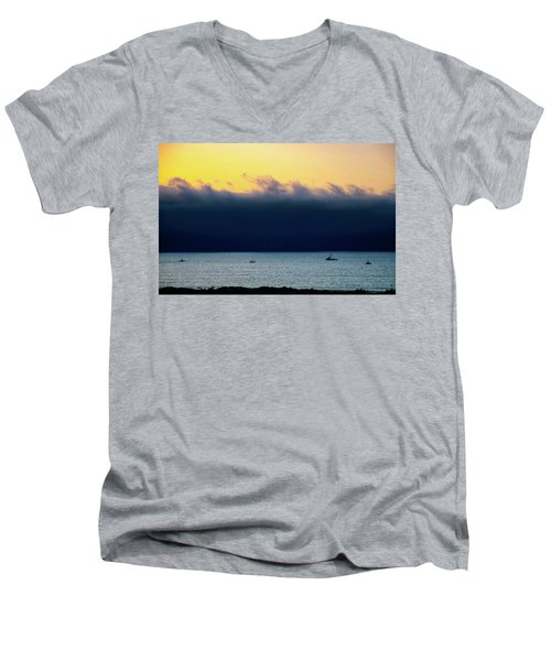 Men's V-Neck T-Shirt featuring the photograph Thick Fog Blankets Sunset by Joseph Hollingsworth