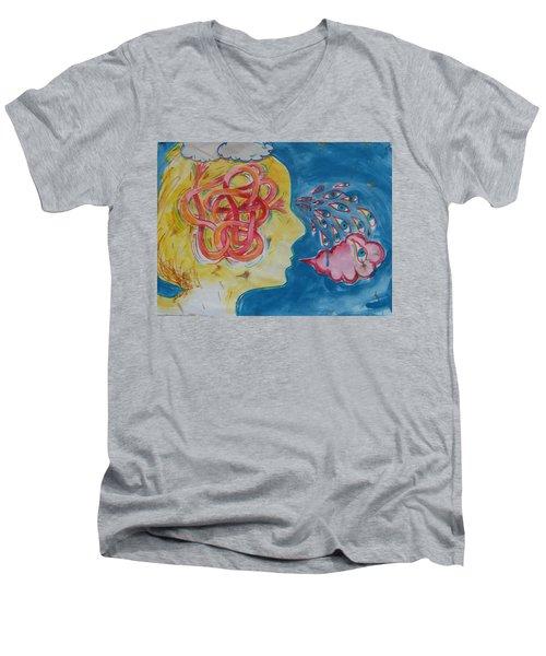 Thinking Men's V-Neck T-Shirt by Tilly Strauss