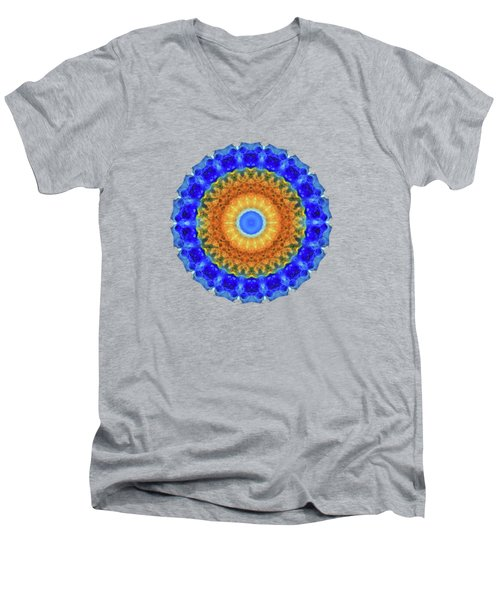Men's V-Neck T-Shirt featuring the painting Third Eye Mandala Art By Sharon Cummings by Sharon Cummings