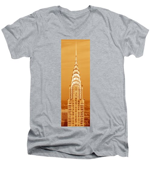 Chrysler Building At Sunset Men's V-Neck T-Shirt by Panoramic Images