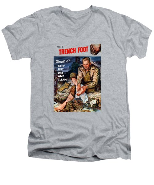 Men's V-Neck T-Shirt featuring the painting This Is Trench Foot - Prevent It by War Is Hell Store
