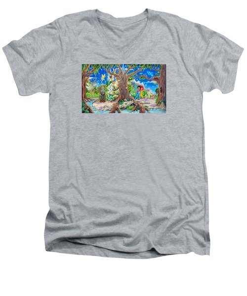 Men's V-Neck T-Shirt featuring the painting This Magical Land by Matt Konar
