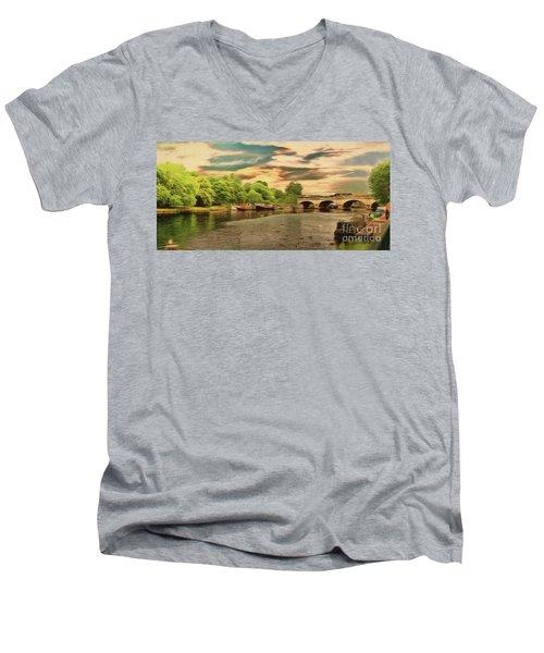 This Morning On The River Men's V-Neck T-Shirt