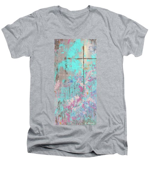This Side Of The Cross Men's V-Neck T-Shirt by Karen Kennedy Chatham