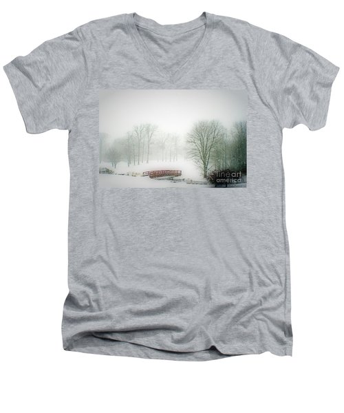 This Small Bridge, Located On A Golf Course, Always Provides A Scenic View. When A December Blizzard Men's V-Neck T-Shirt