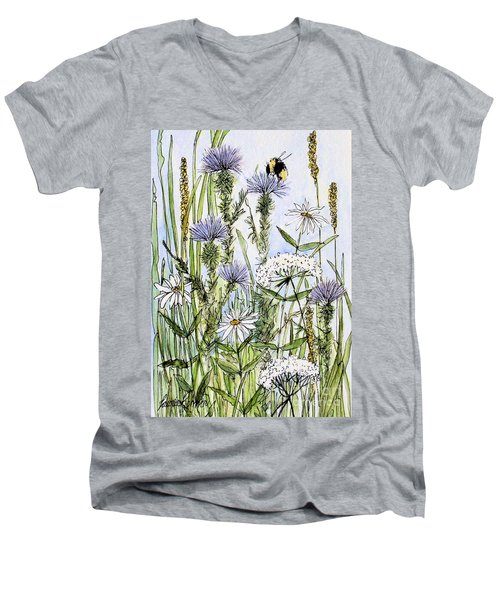 Thistles Daisies And Wildflowers Men's V-Neck T-Shirt by Laurie Rohner