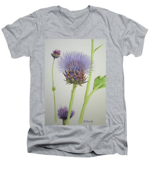 Thistles Men's V-Neck T-Shirt by Marna Edwards Flavell