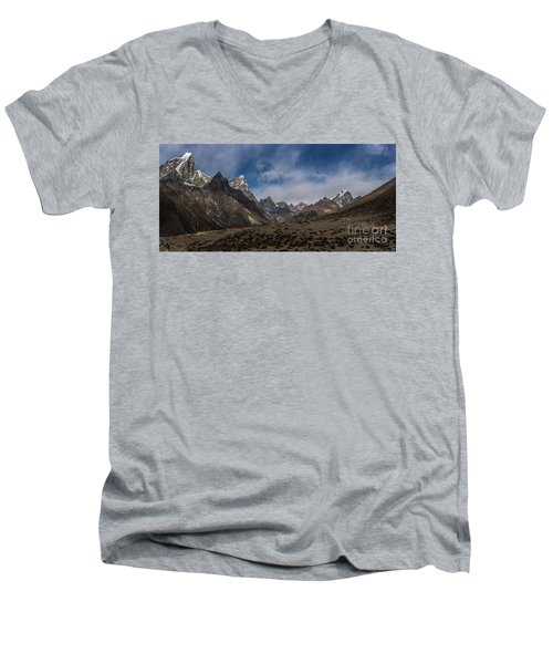 Men's V-Neck T-Shirt featuring the photograph Thokla Pass Nepal by Mike Reid