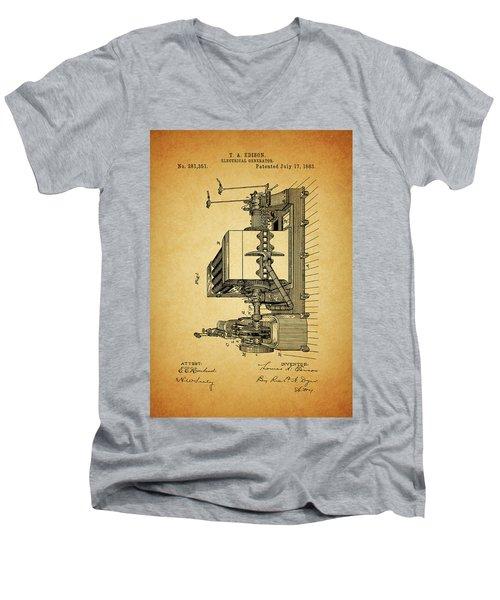 Thomas Edison Generator Patent Men's V-Neck T-Shirt by Dan Sproul
