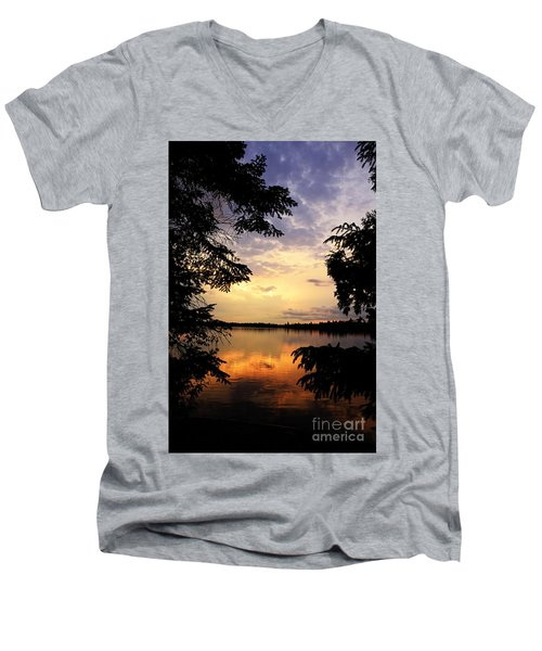 Men's V-Neck T-Shirt featuring the photograph Thomas Lake Sunset 2 by Larry Ricker
