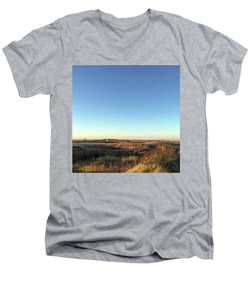 Thornham Marsh Lit By The Setting Sun Men's V-Neck T-Shirt by John Edwards