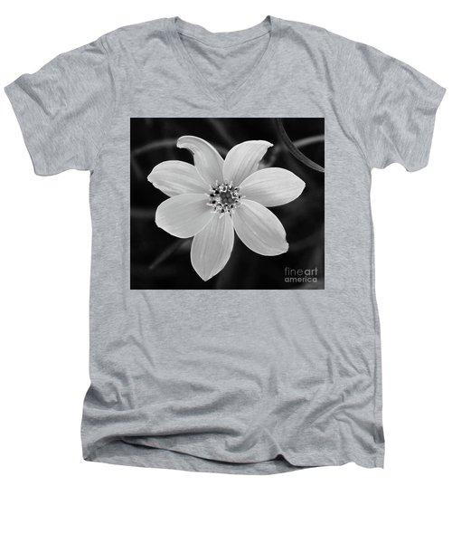 Threadleaf In Black And White Men's V-Neck T-Shirt