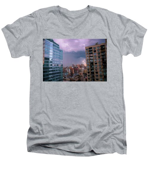 Men's V-Neck T-Shirt featuring the photograph Threatening Storm - Manhattan - 2016 by Madeline Ellis