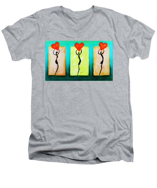 Three Abstract Figures With Hearts Men's V-Neck T-Shirt
