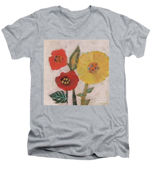 Men's V-Neck T-Shirt featuring the painting Three Awkward Flower Blossoms by Robin Maria Pedrero