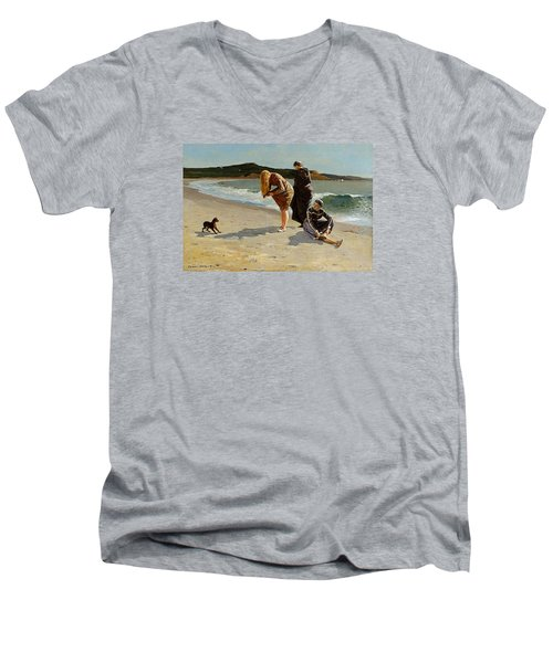 Three Bathers Men's V-Neck T-Shirt by  Newwwman