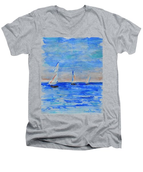Three Boats Men's V-Neck T-Shirt by Jamie Frier