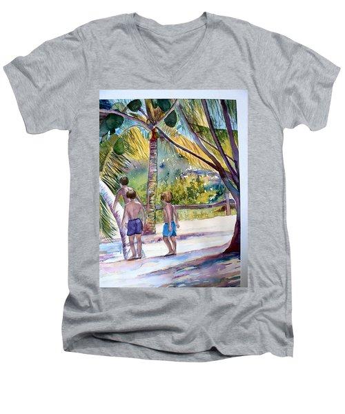 Three Boys Climbing Men's V-Neck T-Shirt