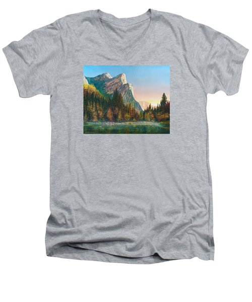 Three Brothers Morning Men's V-Neck T-Shirt by Douglas Castleman