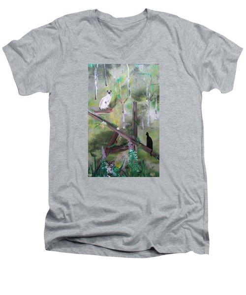 Three Cats In The Yard Men's V-Neck T-Shirt