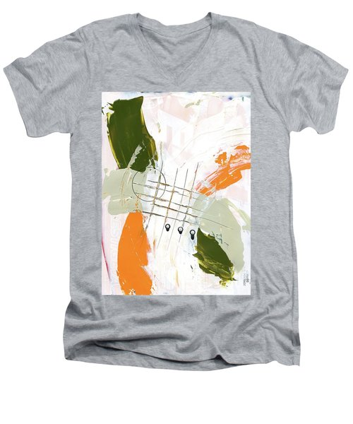 Men's V-Neck T-Shirt featuring the painting Three Color Palette Orange 3 by Michal Mitak Mahgerefteh