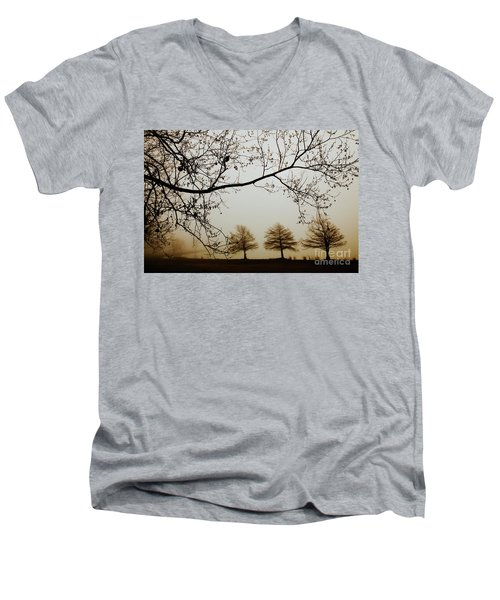 Men's V-Neck T-Shirt featuring the photograph Three Cypress In The Mist by Iris Greenwell