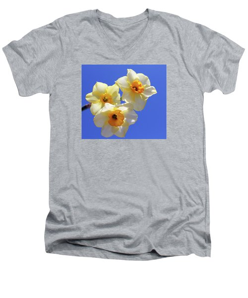 Men's V-Neck T-Shirt featuring the photograph Three Daffodils by Judy Vincent