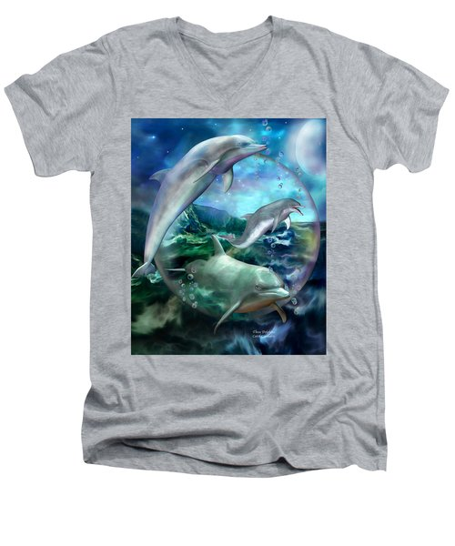 Men's V-Neck T-Shirt featuring the mixed media Three Dolphins by Carol Cavalaris