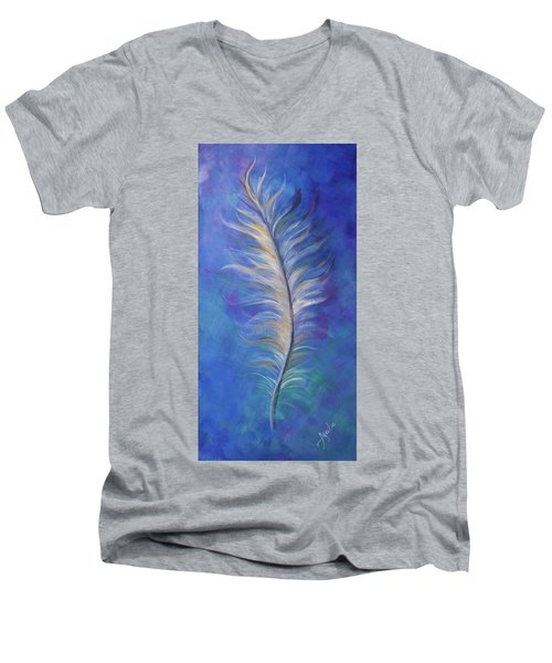 Three Feathers Triptych-right Panel Men's V-Neck T-Shirt by Agata Lindquist