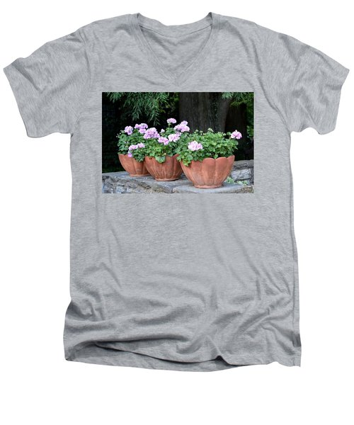 Men's V-Neck T-Shirt featuring the photograph Three Flower Pots by Deborah  Crew-Johnson