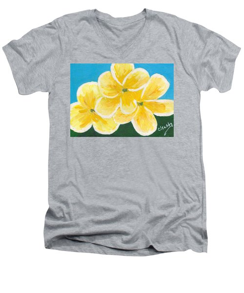 Three Flowers On Blue Men's V-Neck T-Shirt by Patricia Cleasby