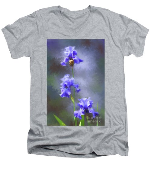 Three Iris Men's V-Neck T-Shirt by Lena Auxier
